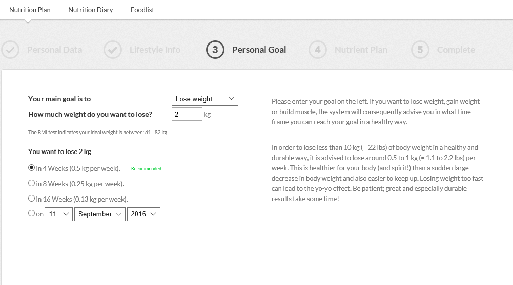Portal Nutrition Plan Step 3 Personal Goal
